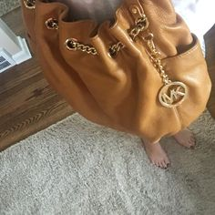 """MK camel handbag 15""""w 13""""h small speck on the bottom of right side of back otherwise it's in great shape! Smoke free home MICHAEL Michael Kors Bags Shoulder Bags"""
