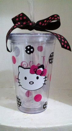 Personalized 16 oz Hello Kitty Like Theme by CuteandJazzyDesigns, $10.00