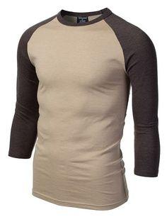 Mens Basic 3/4 Sleeve Raglan T-Shirt #doublju