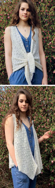 Free knitting pattern for Jackie Waistcoat Vest - Lace vest with draped or tie front. By Marie Wallin for Rowan. Sizes 32-34, 36-38, 40-42, 44-46, 48-50 inches Great for beach or summer cover up. affiliate link tba