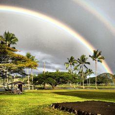 """Hilo Hawaii double """"D"""" rainbow.  One thing I miss about Hawaii are the double and triple rainbows. Hilo Hawaii, Honolulu Oahu, Aloha Hawaii, Maui, All About Hawaii, Hawaiian Homes, Over The Rainbow, Hawaiian Islands, Big Island"""