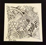 Artwork by Alejandro for exhibit Team 5- Zentangle® at Cooperative Middle School. Grade 7 #art4literacy