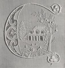 ⌖ Linen & Lace Luxuries ⌖   antique embroidered monogram C with house and tree