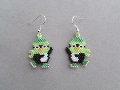 Beaded Earrings Patterns, Seed Bead Patterns, Seed Bead Earrings, Jewelry Patterns, Beading Patterns, Beaded Jewelry, Seed Beads, Beaded Christmas Ornaments, Christmas Earrings