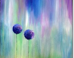 Acrylic Painting Canvas Art Abstract CONTEMPORARY ART ORIGINAL Textured Floral Landscape Art Blue Purple Green 24x24x1,5 (60cmx60cmx3,6cm)