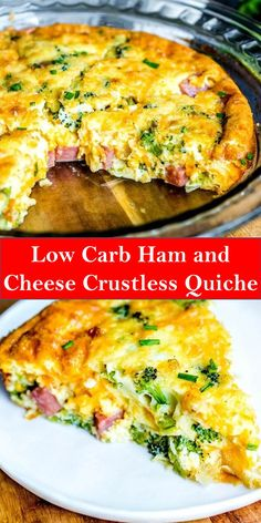 Your family's favorite food and drink ! Low Carb Ham and Cheese Crustless Quiche This Low Carb Ham and Cheese Crustless Quiche is an easy. Easy Brunch Recipes, Healthy Brunch, Breakfast Recipes, Dinner Recipes, Brunch Ideas, Brunch Food, Breakfast Smoothies, Healthy Food, Healthy Eating