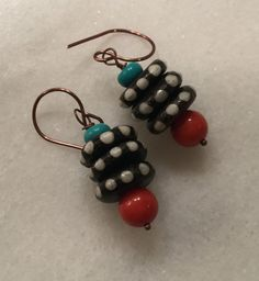 Coral Turquoise and Bone Stacked Dangle Earrings      by vowangems