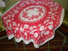 SALE 2.00 Off -- Soft As Soft Can Ever Be: Vintage MINT CONDITION Mid Century Red & White Tablecloth