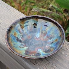 Scrying bowl - multicolored interior bluish green exterior by gryphonwyck