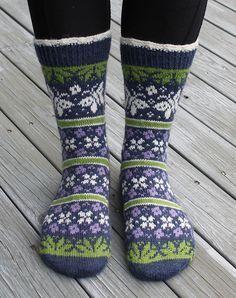 Ravelry: Summer Dream - Sommerdrøm pattern by Aud Bergo Fair Isle Knitting, Loom Knitting, Knitting Socks, Hand Knitting, Knitting Patterns, Knitting Tutorials, Knitting Machine, Vintage Knitting, Crochet Socks