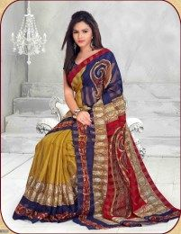 Sizzling Mustard Color Beautiful Printed Traditional Saree