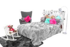 Luxusné chlpaté OMBRE deky a prehozy sivej farby