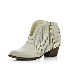 White leather fringed ankle boots - ankle boots - shoes / boots - women