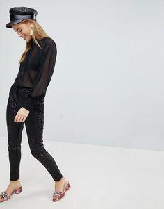 NEW LOOK SEQUIN PANTS - BLACK. #newlook #cloth #