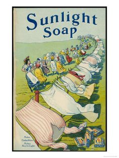 Sunlight Soap Advert a String of Women Admire the Results Displayed on a Very Long Washing Line