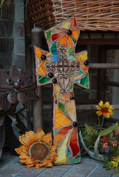 handmade one of a kind stained glass mosaic wall crosses by lori