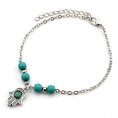 Cheville Turquoise Anklets with Variety of Charms in Silver