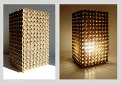 ecological does not equal ugly... like this lamp made out of 480 rolled stripes of cardboard
