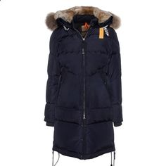 PARAJUMPERS Long Bear Navy Blue // Down parka with fur trim (€779)