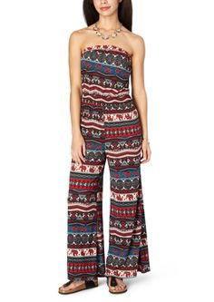 image of Tribal Elephant Palazzo Jumpsuit Jumpsuits are not usually my thing, I like rompers, but I love these patterns Junior Rompers, Tribal Elephant, Palazzo Jumpsuit, Romper Outfit, Rue 21, Mens Fashion, Fashion Trends, Jumpsuits, Dress Shoes