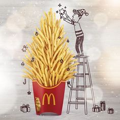 Creative Doodles completed with Mcdonald's Food – Fubiz Media Food Graphic Design, Food Poster Design, Food Design, Graphic Design Illustration, Graphic Design Inspiration, Ads Creative, Creative Posters, Creative Advertising, Advertising Design