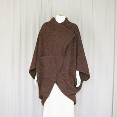 coccoon coat wrap jacket tweed poncho wool poncho by ErnestTaylor