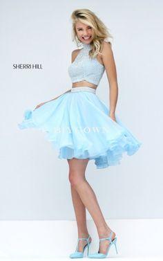 Light Blue 2016 Sherri Hill 50179 Two Piece Chiffon Prom Dress