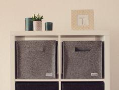 Felt bin storage basket minimal design stich-haltig.com   https://www.etsy.com/de/listing/287555121/regalkorb-aus-filz-aufbewahrung-filzbox