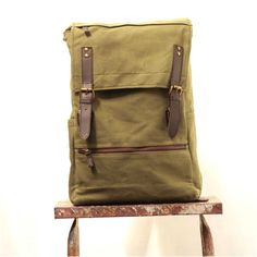 Knapsack Backpack Laptop Bag Waxed Canvass and by HacerdeCuero