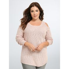 Torrid Marled Knit Cold Shoulder Tunic ($55) via Polyvore featuring tops, tunics, pink dust, womens plus tops, pink top, cold shoulder tops, cutout shoulder top and pink plus size tops