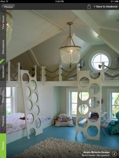 I love the idea of having a little extra space for kids, like the loft above the bed here.