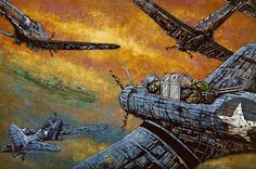 A squadron of Dauntless dive-bomb a Japanese carrier in the Pacific Theater in WWII. Painting Process The 36 x 24 background was painted with a variety of acrylics to create the sense of a mid-morning
