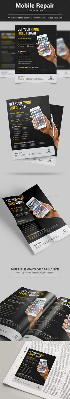 Smartphone Repair Service Flyer - Commerce Flyers | Available Here https://graphicriver.net/item/smartphone-repair-service-flyer/17338300?ref=themedevisers