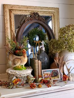 A Vintage-Traditional Thanksgiving Dining Room Tour. Love the vintage turkey planter. Would really like to find a few to add to my decor, Outdoor Thanksgiving, Vintage Thanksgiving, Thanksgiving Traditions, Thanksgiving Feast, Thanksgiving Decorations, Fall Decorations, Fall Home Decor, Holiday Decor, Christmas Decor