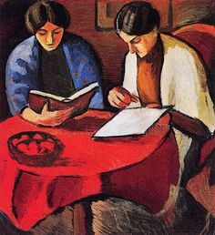 Two Women at the Table. August Macke (German, Oil on canvas. Macke's world of paintings is unmistakable. Quiet compositions, scenes of nature, the open countryside or of places inhabited by monumental, faceless figures show his. August Macke, Reading Art, Girl Reading Book, Woman Reading, Cavalier Bleu, People Reading, Ddr Museum, Illustration, Oil Painting Reproductions