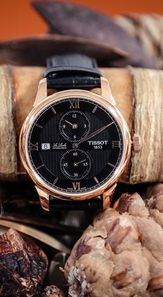 Tissot Le Locle Regulateur | Black Dial, Rose Gold with Black Leather Strap