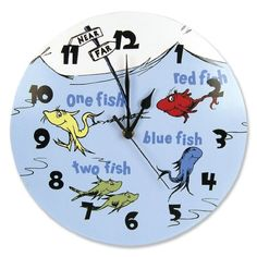 One Fish, Two Fish, Wall Clock - So cute in the Nursery! Dr Seuss One Fish Two Fish Red Fish Blue Fish Nursery Ideas - bedtimebaby.com