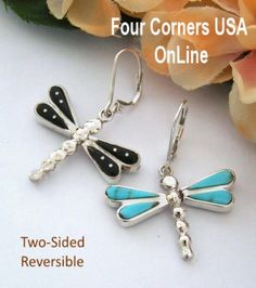 Four Corners USA Online - Two Sided Reversible Turquoise Dragonfly Earrings Merle House Native American Indian Silver Jewelry, $126.00 (http://stores.fourcornersusaonline.com/two-sided-reversible-turquoise-dragonfly-earrings-merle-house-native-american-indian-silver-jewelry/)
