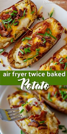 air fryer recipes These easy air fryer twice baked potatoes are a creamy and cheesy side dish that is a perfect addition any meal. Hearty baked potatoes are filled with mashed potatoes, sour cream and cheese and topped with bacon and chives. Air Fryer Dinner Recipes, Air Fryer Oven Recipes, Air Fryer Recipes Potatoes, Air Fry Potatoes, Air Fryer Recipes Appetizers, Air Fryer Baked Potato, Air Fryer Egg Roll Recipe, Meals With Mashed Potatoes, Meals With Bacon