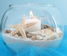 Bubble bowl, sand, candle and shells = instant centerpiece.