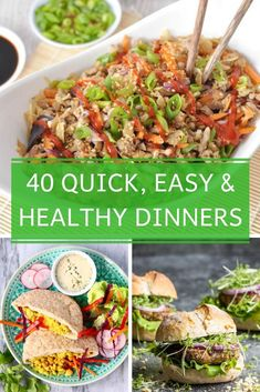 Looking for some quick and easy healthy dinner recipes? I've scoured the internet to bring you 40 of the best recipes that will help you figure out what's for dinner.  Oh and all recipes are on the table in 30 minutes or less!  WINNING! Easy Healthy Dinners, Easy Healthy Recipes, Easy Dinner Recipes, Quick Recipes, Quick Easy Healthy Dinner, Easy Dinners, Vegan Recipes, Kebabs, Comfort Foods