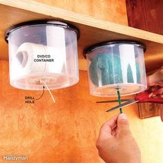 String Dispensers Here's a great way to reuse empty CD/DVD containers. Drill a hole in the top for the string to slide through, then screw the lid under a shelf and snap on the string-loaded container. Pull down and snip off the desired length and never worry that your ball of string will roll away across the floor dragging its tail behind it…