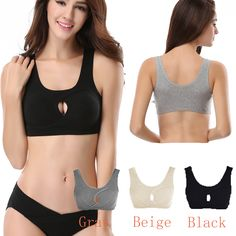 060b77a3c4aa4 Black Beige Gray Women Sports Bra Top Athletic Seamless Push Up Yoga Bras  Padded Running Shockproof Workout Tank Vest M L XL