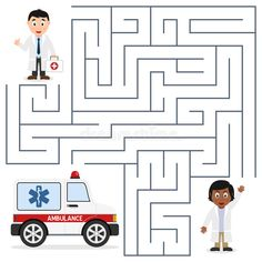 Doctors And Ambulance Maze For Kids Stock Vector - Illustration of find, graphic: 66660599 Community Helpers For Kids, Community Helpers Worksheets, Preschool Learning Activities, Preschool Activities, Ambulance, Doctor Games For Kids, Visual Perceptual Activities, Beginning Sounds Worksheets, Rainbow Cartoon