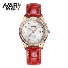 (33.99$)  Buy here - http://aic5o.worlditems.win/all/product.php?id=32775184615 - Fashion NARY Brand Women Watch Genuine Leather Strap Rhinestone Wristwatch Elegant Female Dress Quartz Watch relogio feminino