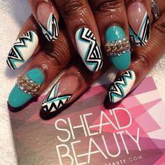 Aqua nails w/white & blk accents