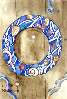 Sea Wreath Original Watercolor Painting Nautical Art Watercolor Illustration by Niina Niskanen Wreath Watercolor, Watercolor Paper, Watercolor Paintings, Watercolors, Original Artwork, Original Paintings, Birthday Wishes Cards, Brown Art, Nautical Art