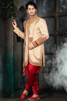 Cream Yellow Ghicha Silk and Benarasi Silk Embroidered Wedding Sherwani