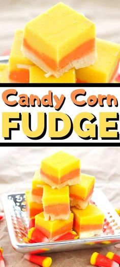 Candy corn fudge is an easy fudge recipe made to look like everyone's favorite Halloween treat -- candy corn! Perfect for Halloween parties! Easy Halloween Food, Halloween Parties, Halloween Treats, Easy Desserts, Dessert Recipes, Chocolate Candy Melts, Small Baking Dish, Fudge Recipes, Candy Recipes