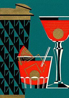 Vintage Cocktail & Shaker Illustration